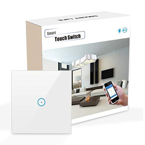 Wifi Smart Lichtschalter, MAMYOK Wlan lichtschalter arbeitet mit Amazon Alexa,Google Home,Fernsteuerung Ihrer Geräte von überallre,gehärtetes Glas Touchscreen-schalter mit Überlastungsschutz (1-Weg)