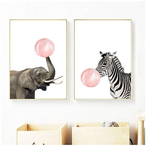 hdbklhjxk Nordic poster en print zebra olifant kip eend ballon canvas schilderij cartoon dier muurschilderingen voor kinderkamer wooncultuur 40x60 cm x2 geen lijst