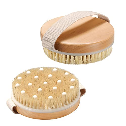 AmazerBath 2 Pack Dry Brushing Body Brush, Dry Brush for Cellulite and Lymphatic, Dry Body Brush with Natural and Soft Bristle, Cellulite Massager to Improve Circulation, Brush for Wet or Dry Brushing