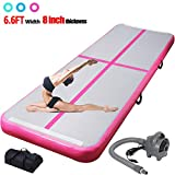 ChampionPlus 10ft 13ft 16ft 20ft Air Track Tumbling Mat Inflatable Gymnastics Mat 4/8 inches Thickness Airtrack Tumbling Mats for Home Training Cheerleading Yoga with Air Pump Pink 13'x3.3'x8'' -  CHAMPIONSPORTS