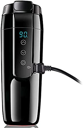 Hervidor eléctrico de viaje de 12 V, taza de calefacción para coche con tapa antiderrames, taza de café portátil de viaje de 20 ℃ ~ 90 ℃ con control de temperatura variable para té y leche