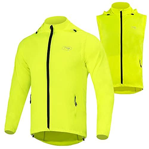 Dooy Men's Cycling Jacket Removable High Visibility Biking Windbreaker(Yellow, L)