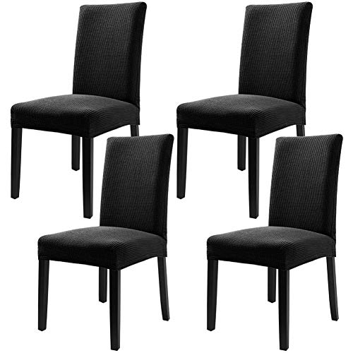 Fuloon 4 Pack Super Fit Stretch Removable Washable Short Dining Chair Protector Cover Seat Slipcover for Hotel,Dining Room,Ceremony,Banquet Wedding Party (Black)