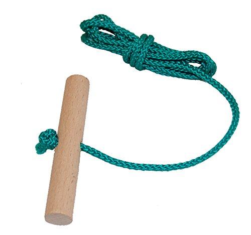 Looping-Lu Schlittenseil mit Holzgriff aus Buchenholz 1 Zugseil (Grün)