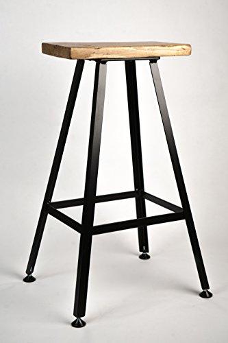 TableShack Angle Tabouret de Bar de Fer (Assise) carré Fixe, fabriqué à la Main européenne Bois Blanc Assise | Robuste Noir laqué Finition en métal | Bistro, DE Cuisine | fabriqué au Royaume-Uni
