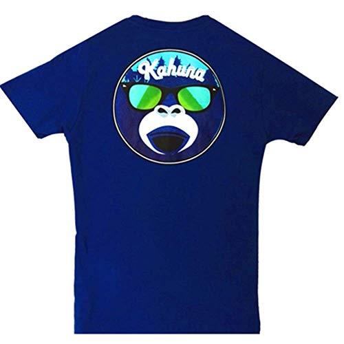 Camiseta surfera para Hombre de Manga Corta Casual Men t Shirt Kahuna Store Streetwear Monkey Logo Urban Classic T-Shirt Azul Royal Talla S (Niño, Mujer), M, L (Hombre) Slim FIT