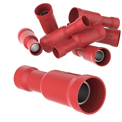 AUPROTEC 25x Rundsteckhülsen 0,5-1,5 mm² rot Vollisoliert PVC weibliche Quetschverbinder FRD Kabel Verbinder aus Messing verzinnt