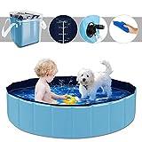 YAOBLUESEA Piscina para Perros, 120x30CM Piscina para Perros Piscina Plegable para Mascotas - Mediana/Azul