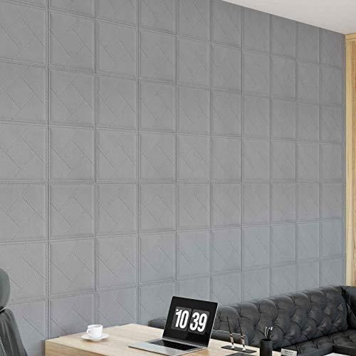 JHM-Wandaufkleber 3D Stereo Ziegel Tapete, Schlafzimmer Hintergrund Wanddekoration,wasserdichte und Feuchtigkeitssichere Wandpaneele 10 Stücke,Grau