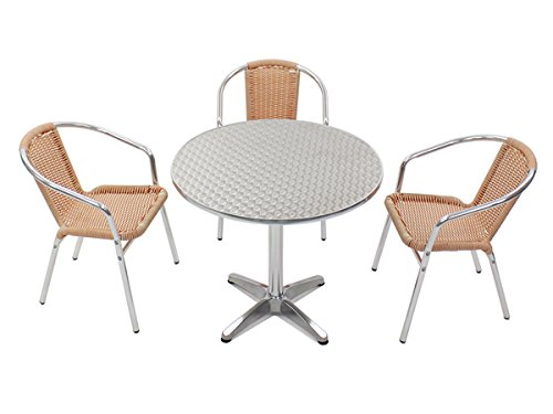 ガーデン4点セット ガーデンテーブル4点セット ガーデンテーブルセット 人工ラタン アルミチェア ダイニングチェア ロビーチェア ガーデンチェア スタッキングチェア ビーチチェア スタッキング アウトドア リゾート ラタン (人工) オレンジ 白 L24W