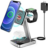 Aluminum Alloy 3 in 1 Magnetic Wireless Charger,20W Fast Wireless Charging Station for Magsafe Charger Stand iPhone 12/Pro/Pro Max/Mini,Apple Watch SE 6 5 4 3 2,Airpods Pro/2(with QC 3.0 Adapter)