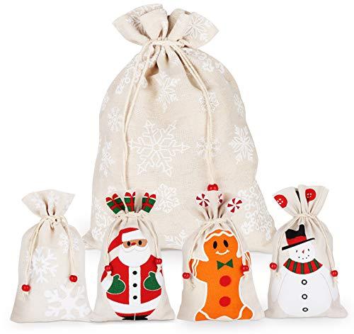 5pcs Santa Sack avec Cordon de Serrage,Sac de Jute à Remplir,Sac en Tissu,Sacs à Bonbons de Noël,Cadeau Sacs Poches de Bijoux,Pochette Biscuit,Bonhomme de Neige,Père Noël,Flocon de Neige,2Tailles