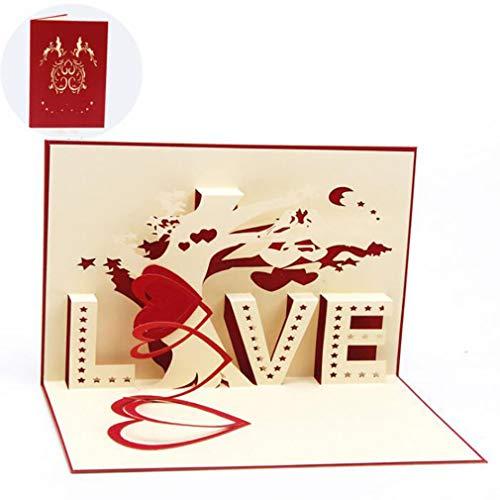 MOONRING Tarjetas de felicitación 3D desplegables Hechas a Mano Año Nuevo, cumpleaños, Boda, Día de la Madre,...