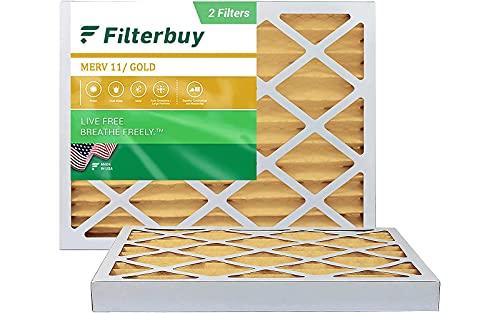FilterBuy 16x20x2 Air Filter MERV 11, Pleated HVAC AC Furnace Filters (2-Pack, Gold)
