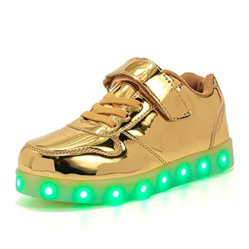 Unisex chłopięce dziewczęce klasyczne Low-Top LED światła 7 kolorów ładowarka USB LED trampki trampki świecące buty do biegania, - Złoto 518 - 31 EU