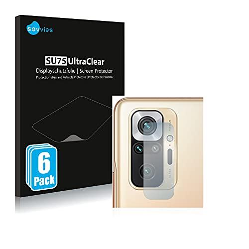 savvies Protector Pantalla Compatible con Xiaomi Redmi Note 10 Pro MAX (SÓLO Cámara) (6 Unidades) Película Ultra Transparente