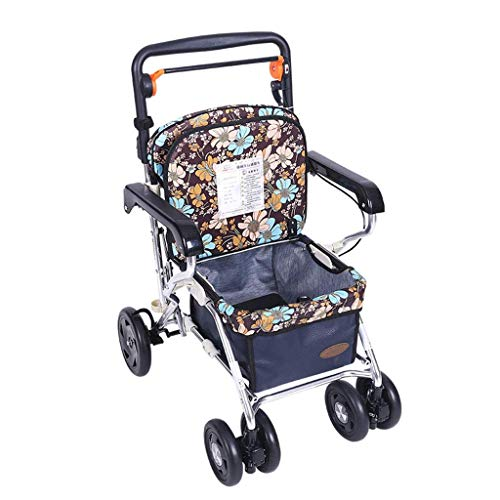 Einkaufswagen-Laufkatze-alter Mann-Einkaufswagen-Wanderer kann einen faltenden Rollstuhl nehmen Haushaltseinkaufswagen Vierradfahrzeug kann 100 Kilogramm tragen (Farbe: Blau, Größe: 44 * 60 * 85-95cm)