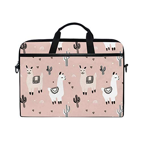 WowPrint Laptop Sleeve, Cute Animal Llama Cactus Laptop Case Shoulder Strap with Handle Portable Notebook Computer Bag for 13 13.3 14 15 inch