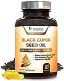 Black Seed Oil Capsules, 1000mg Premium Nigella Sativa Black Cumin Seed Oil, Non GMO, Vegetarian, Liquid Blackseed Oil Supplement - 120 Capsules