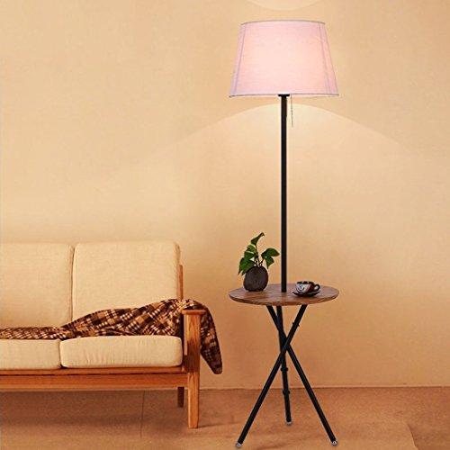 XIN Home staande lamp, staande led, massief houten vloerlamp slaapkamer woonkamer studie modern eenvoudig ijzer verticale drie poten Amerikaanse stijl creatieve staande lamp oogbescherming verticaal