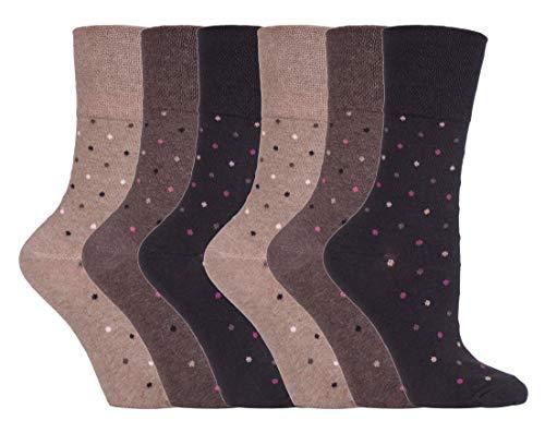 Gentle Grip - 6er Pack Damen Baumwolle Ohne Gummib& Socken | Socken mit Bunt Elegant Motiv (37/42, SOLRH146)