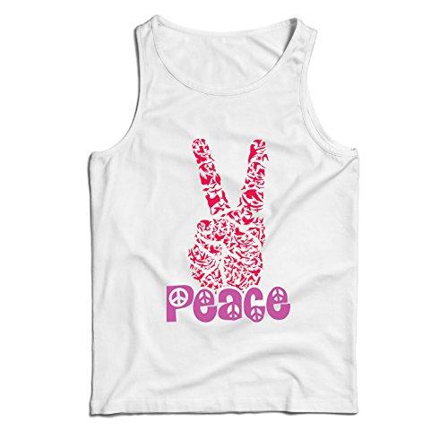 lepni.me Camisetas de Tirantes para Hombre Símbolo del Hippie Peace Festival, década de 1960 de los 70, Muestra de Fiesta Maravillosa (Medium Blanco Multicolor)