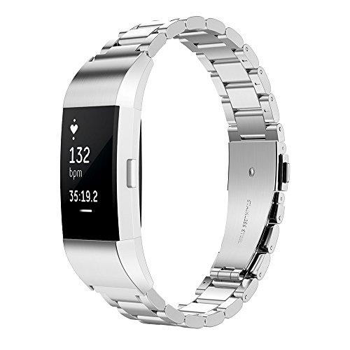Simpeak Armband Kompatibel mit Fitbit Charge 2 [5,1-8,0 Zoll], Edelstahl Metall Uhrenarmband Armbänder Kompatibel für Fitbit Charge 2 - Silber