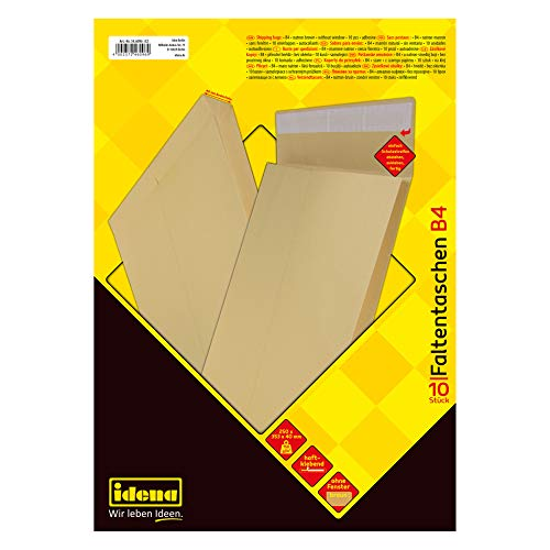Idena 346096Sobres B4con pestaña autoadhesiva, sin ventana, 4cm, 10unidades, color marrón