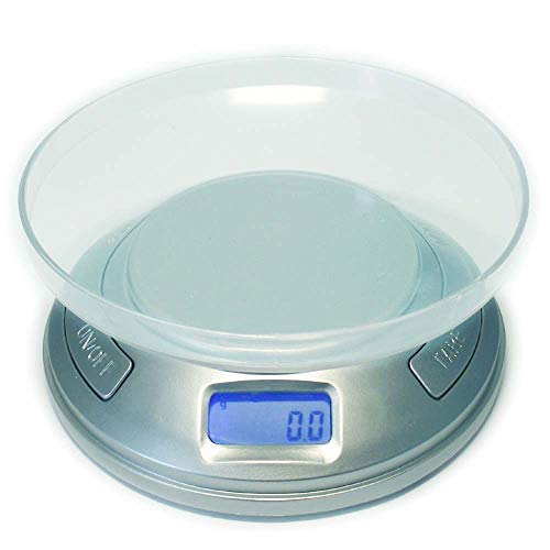 Dipse Digitale mini-tafel, keukenweegschaal met telfunctie, rookmelder-design, 0,1 g tot 500 g, zilver