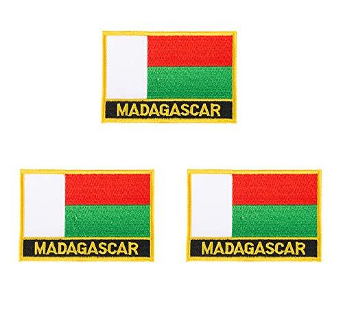 3 Stück Madagaskar bestickte Flaggen-Embleme zum Aufbügeln oder Aufnähen.