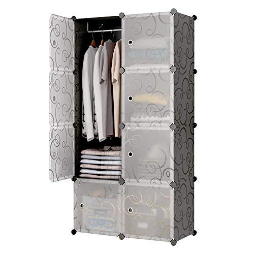 Glamexx24 Hallo Home Armadio Portatile per Appendere Abiti Armadio Combi, Armadio modulare per salvaspazio, cubo Organizer Ideale per Libri 8 cubo Bianco