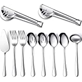 Serving Utensils Include Large Serving Spoons Slotted Serving Spoons Serving Forks Serving Tongs Soup Ladle and Pie Server Buffet Catering Serving Utensils for Dishwasher Safe (Silver, 10)