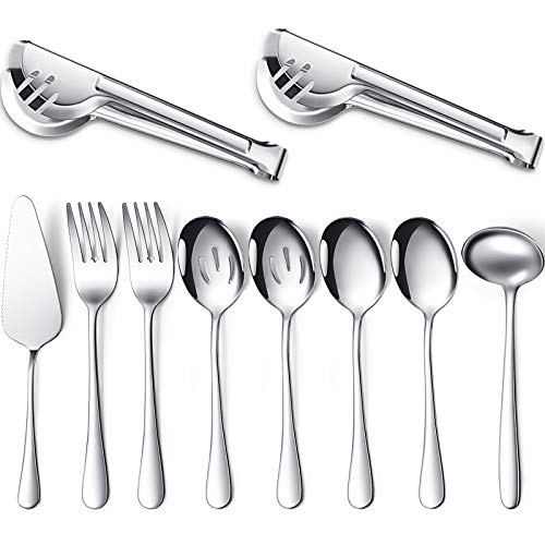 10 Pieces Serving Utensils Include 2 Large Serving Spoons 2 Slotted Serving Spoons 2 Serving Forks 2 Serving Tongs 1 Soup Ladle and 1 Pie Server Buffet Catering Serving Utensils for Dishwasher Safe