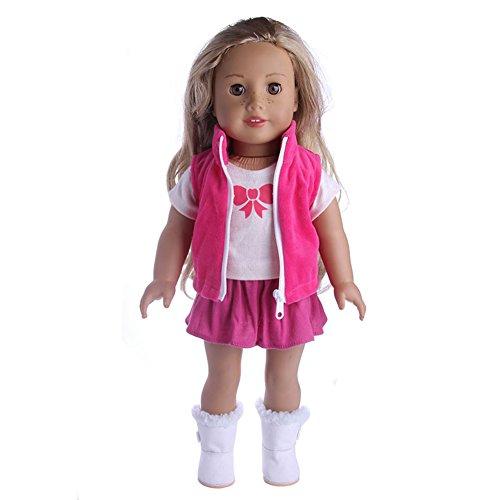 Eleganantstunning American Girl Puppenkleidung, Puppenanzug, Mantel/Weste + T-Shirt + Rock Puppenkleid, Zubehör für 45,7 cm große Puppe N1339