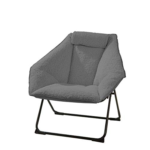 "Urban Shop Micromink Hex Saucer Chair, Gray, 31""x30"""