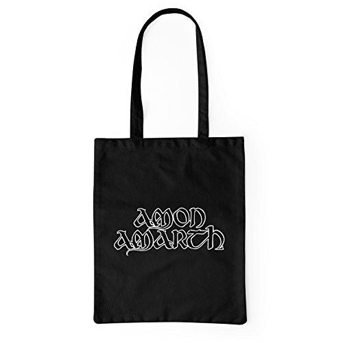 LaMAGLIERIA Bolsa de Tela Amon Amarth - Tote Bag Shopping Bag 100% algodón, Negro