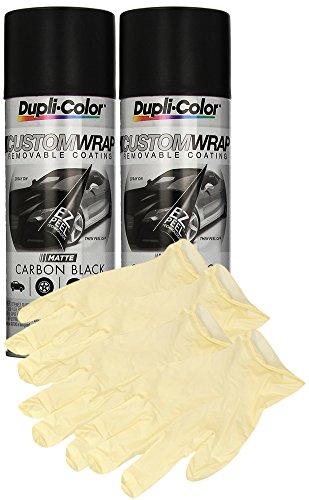 Dupli-Color Carbon Black Custom Wrap (11 oz) Bundle with Latex Gloves (6 Items)