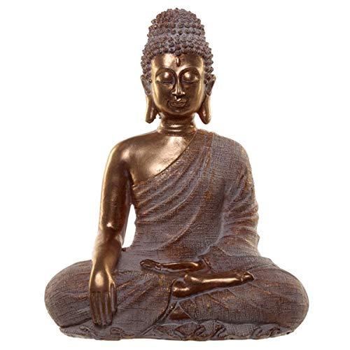 Puckator - Figura de Buda tailandesa, Color Dorado y Blanco, Resina, Multicolor, 29 cm de Alto, 25 cm de Ancho, 16 cm de Profundidad.