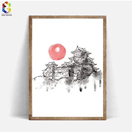 Geiqianjiumai Japanse inkt canvas kunstdruk poster aquarel muur decoratie frameloze schilderij 30x40 cm