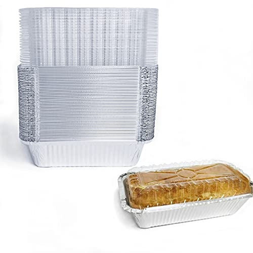 """Disposable Loaf Pan with Lid for Baking - 8x4"""" l 1.5 Lb Disposable Bread Pans - Meatloaf Pans – 50 Pans and 50 Clear Lids - Perfect for Baking Cakes, Bread, Meatloaf…"""