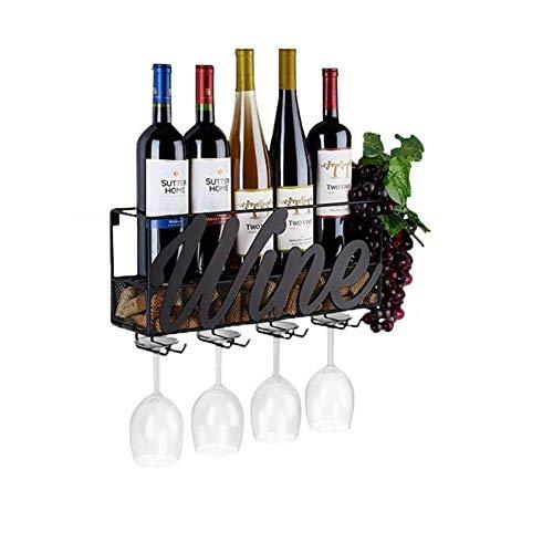 JBNJV Botellero de Pared con Soporte para Vidrio Soporte para Botellas de Vino para 5 Botellas y 4 Vasos Soporte para Botellas Caja para Botellas de Vino montada en la Pared para Cocina, Comedor,