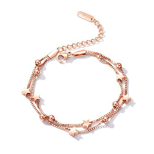 Boenxuan Elegant Sterne Damen Strangarmband 925 Sterling Silber,Charm-Armband Armkette Verstellbar Armkettchen Armreif Rosegold,Gold