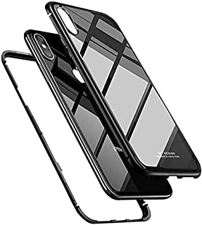 Magnetic protection cover made of aluminum and glass background compatible with iPhone X and iPhone XS - Black