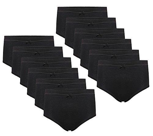 Daisy Dreamer 12 Pack Ladies Briefs Maxi, 100% Cotton Full Comfort Fit Underwear, Size 10-24 WMS 10 12 (38-40 ), Black