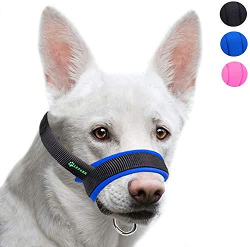 ILEPARK Bozal de la Tela para Perros Grandes Previene Mordidas, Ladridos y Que Mastiquen, Bozal Lazo Ajustable (M,Azul)