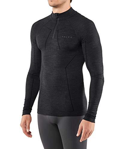 FALKE Herren Wool Tech. Zip M L/S SH Baselayer-Shirt, Schwarz (Black 3000), L