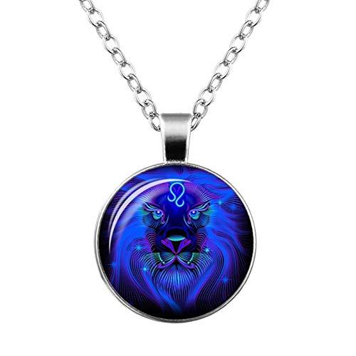 AMINIY Galaxy 12 Constellations Design Zodiac Constellation Horoscope Horoscope Pendant Necklace Ladies Men Glass Cabochon (Color : Lion)