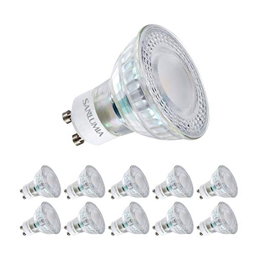 Sanlumia Bombillas LED GU10, 6W = 75W Halógena, 500Lm, Blanco Frío (6400K), Ultra Brillante, Iluminación de Techo para Cocina, Oficina, o Baño, 100° ángulo de haz,Paquete de 10