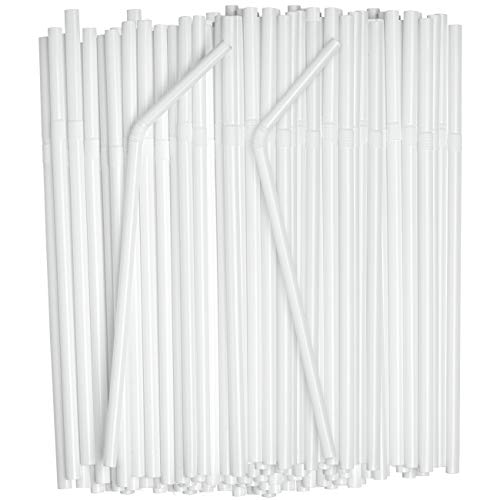 [380 Pack] Individually Wrapped White Plastic Flexible Drinking Straws