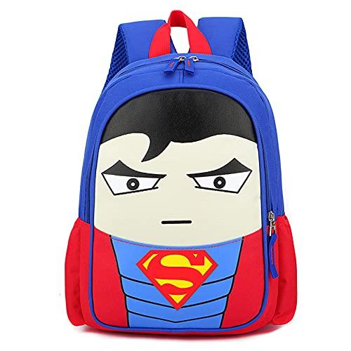 Zainetto per bambini per scuola materna, zaino per la scuola e la scuola, doppio strato rosso, impermeabile, superman, s